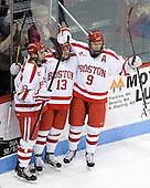 Wade Megan (BU - 18), Garrett Noonan (BU - 13), Alex Chiasson (BU - 9) - The Boston University Terriers defeated the visiting Providence College Friars 6-1 on Friday, January 20, 2012, at Agganis Arena in Boston, Massachusetts.
