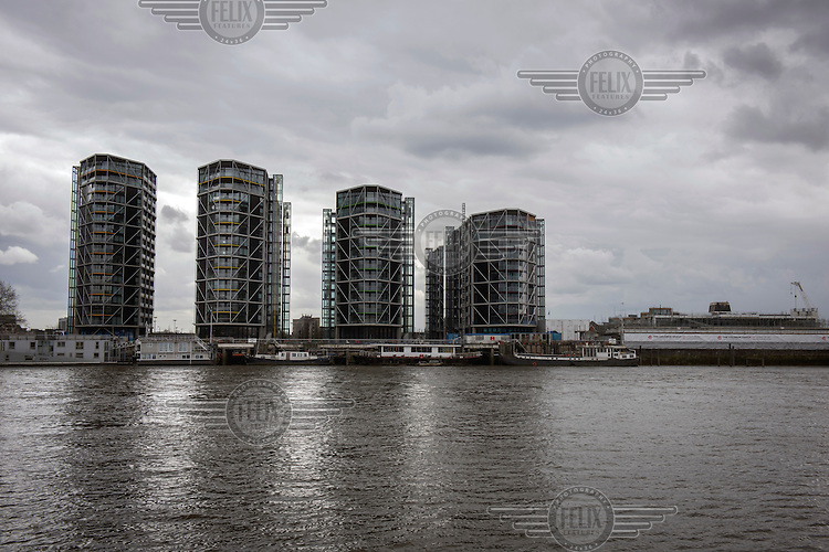 The River Thames beside the Nine Elms development site.
