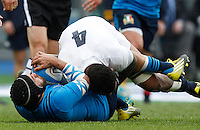 Rugby, Torneo delle Sei Nazioni: Italia vs Inghilterra. Roma, 14 febbraio 2016.<br /> Italy&rsquo;s Edoardo Gori, left, and England&rsquo;s Courtney Lawes fight for the ball during the Six Nations rugby union international match between Italy and England at Rome's Olympic stadium, 14 February 2016.<br /> UPDATE IMAGES PRESS/Riccardo De Luca