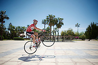 Jonas Van Genechten (BEL/Lotto-Belisol) pulling a pré-race wheelie<br /> <br /> Tour of Turkey 2014<br /> stage 3