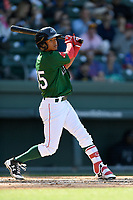 Center fielder Lorenzo Crdrola (35) of the Greenville Drive bats in a game against the Charleston RiverDogs on Sunday, April 29, 2018, at Fluor Field at the West End in Greenville, South Carolina. Greenville won, 2-0. (Tom Priddy/Four Seam Images)