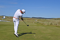 Haydn Porteous (RSA) on the 1st tee during Round 1 of the Dubai Duty Free Irish Open at Ballyliffin Golf Club, Donegal on Thursday 5th July 2018.<br /> Picture:  Thos Caffrey / Golffile
