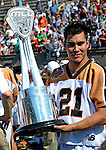 24 August 2008: Rochester Rattlers' Midfielder Brett Bucktooth holds the Championship Trophy during the post-game festivities after defeating the Denver Outlaws during the Championship Game of the Major League Lacrosse Championship Weekend at Harvard Stadium in Boston, MA. The Rattles took control of the second half and outscored the Outlaws 16-6 to take the league honor for the 2008 season...Mandatory Photo Credit: Ed Wolfstein Photo
