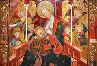 Gothic Altarpiece of the Madonna Nursing or Madonna Lactans, by Ramon de Mur, active around Tarrega and Montblanc circa 1412-1435, tempera and gold leaf on for wood, from the parish church of Santa Maria de Cervera (Segarra),  National Museum of Catalan Art, Barcelona, Spain, inv no: MNAC  15818.