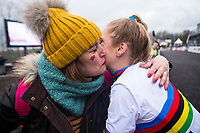 Picture by Alex Whitehead/SWpix.com - 03/02/2018 - Cycling - 2018 UCI Cyclo-Cross World Championships - Valkenburg, The Netherlands - Great Britain's Evie Richards celebrates with family and friends after winning Gold in the Women's U23 race.