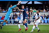 February 2nd 2019, San Jose, California, USA; Costa Rica goalkeeper Esteban Alvarado (1) punches the ball away from USA defender Walker Zimmerman (25) during the international friendly match between USA and Costa Rica at Avaya Stadium on February 2, 2019 in San Jose CA.
