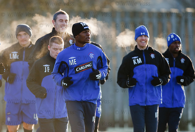 Maurice Edu enduring a chilly Glasgow morning at training