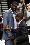 12/26/11--Greg Odem talks with Trail Blazers president Larry Miller before the season opener with the Philadelphia 76ers at the Rose Garden...Photo by Jaime Valdez. ........................................