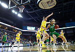 SIOUX FALLS, SD - MARCH 7: Maggie Manson #3 of the North Dakota Fighting Hawks attempts to get around Tagyn Larson #24 of the South Dakota State Jackrabbits at the 2020 Summit League Basketball Championship in Sioux Falls, SD. (Photo by Richard Carlson/Inertia)