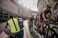 Team Mitchelton-Scott maneuvering Caleb Ewan (AUS/Michelton-Scott) towards the front in the last lap<br /> <br /> Stage 8: London to London (77km)<br /> 15th Ovo Energy Tour of Britain 2018