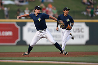 Third baseman Reed Gamache (40) of the Columbia Fireflies plays defense in a game against the Lexington Legends on Thursday, June 8, 2017, at Spirit Communications Park in Columbia, South Carolina. Behind him is shortstop Andres Gimenez. Columbia won, 8-0. (Tom Priddy/Four Seam Images)