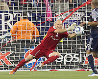 New England Revolution goalkeeper Matt Reis (1) makes a save. In a Major League Soccer (MLS) match, the Los Angeles Galaxy defeated the New England Revolution, 1-0, at Gillette Stadium on May 28, 2011.