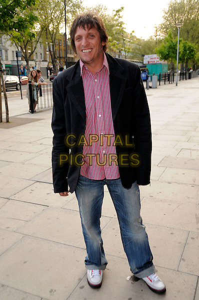 "BRANDON BLOCK.The ""City Rats"" East End Film Festival VIP Screening, Genesis Cinema, Mile End Road, London, England..April 24th 2009.full length pink red striped shirt black suit jacket dj jeans denim .CAP/CAS.©Bob Cass/Capital Pictures."