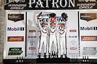 #911 Porsche Team North America Porsche 911 RSR, GTLM: Patrick Pilet, Nick Tandy, Frédéric Makowiecki, podium