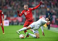 FUSSBALL  1. BUNDESLIGA  SAISON 2015/2016  24. SPIELTAG FC Bayern Muenchen - 1. FSV Mainz 05       02.03.2016 Leon Balogun (re, 1. FSV Mainz 05) gegen Franck Ribery (li, FC Bayern Muenchen)