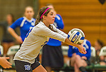 1 November 2015: Yeshiva University Maccabee Defensive Specialist and Outside Hitter Carol Jacobson, a Senior from Seattle, WA, bumps one against the SUNY College at Old Westbury Panthers at SUNY Old Westbury in Old Westbury, NY. The Panthers edged out the Maccabees 3-2 in NCAA women's volleyball, Skyline Conference play. Mandatory Credit: Ed Wolfstein Photo *** RAW (NEF) Image File Available ***