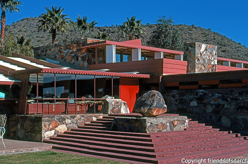F.L. Wright: Taliesin West. Front of House.  Photo '77.