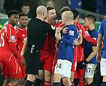 Jordan Henderson of Liverpool clashes with Steven Naismith of Everton - Barclays Premier League - Everton vs Liverpool - Goodison Park Stadium  - Liverpool - England - 7th February 2015 - Picture Simon Bellis/Sportimage