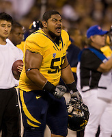 Viliami Moala of California yells during the game against USC at AT&T Park in San Francisco, California on October 13th, 2011.  USC defeated California, 30-9.