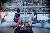 Strasbourg, France - April 3, 2009 -- First Lady Michelle Obama meets with Carla Bruni-Sarkozy, wife of French President Sarkozy at the Palais Rohan (Rohan Palace) Friday, April 3, 2009, in Strasbourg, France. .Mandatory Credit: Chuck Kennedy - White House via CNP