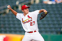 Seth Maness (27) of the Springfield Cardinals delivers a pitch during a game against the Arkansas Travelers at Hammons Field on June 12, 2012 in Springfield, Missouri. (David Welker/Four Seam Images)