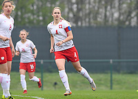 20190409 - TUBIZE , Belgium : Polish Olga Sirant pictured during a women soccer game between the under 19 teams of Belgium and Poland. This is the Third and final game in their elite round qualification for the European Championship in Schotland 2019. The Belgian national women's soccer team is called the Red Flames, on the 9 th of April in Tubize. PHOTO DAVID CATRY | Sportpix.be