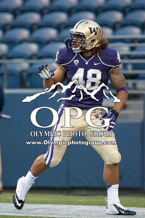 Sept 01, 2012:  Washington's Jonathan Amosa against San Diego State.  Washington defeated San Diego State 21-12 at CenturyLink Field in Seattle, Washington...