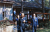 President Anwar al-Sadat of Egypt, center, accompanied by Osama Al Baz, Ambassador of Egypt to the U.S., left, and Foreign Minister Muhammad Ibrahim Kamal of Egypt, right, depart Dogwood Cabin at Camp David, the US presidential retreat near Thurmont, Maryland during the summit to discuss a peace treaty with Israel..Credit: White House via CNP