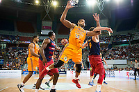 Herbalife Gran Canaria's player Royce O'Neale and Eulis Baez and FC Barcelona Lassa player Joey Dorsey and Pau Ribas during the final of Supercopa of Liga Endesa Madrid. September 24, Spain. 2016. (ALTERPHOTOS/BorjaB.Hojas) NORTEPHOTO.COM