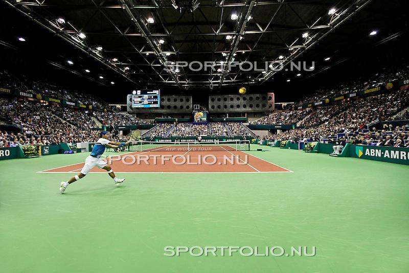 Nederland, Rotterdam, 13 februari 2009..ABN AMRO World Tennis Tournament 2009.Rafael Nadal in actie met de bal.