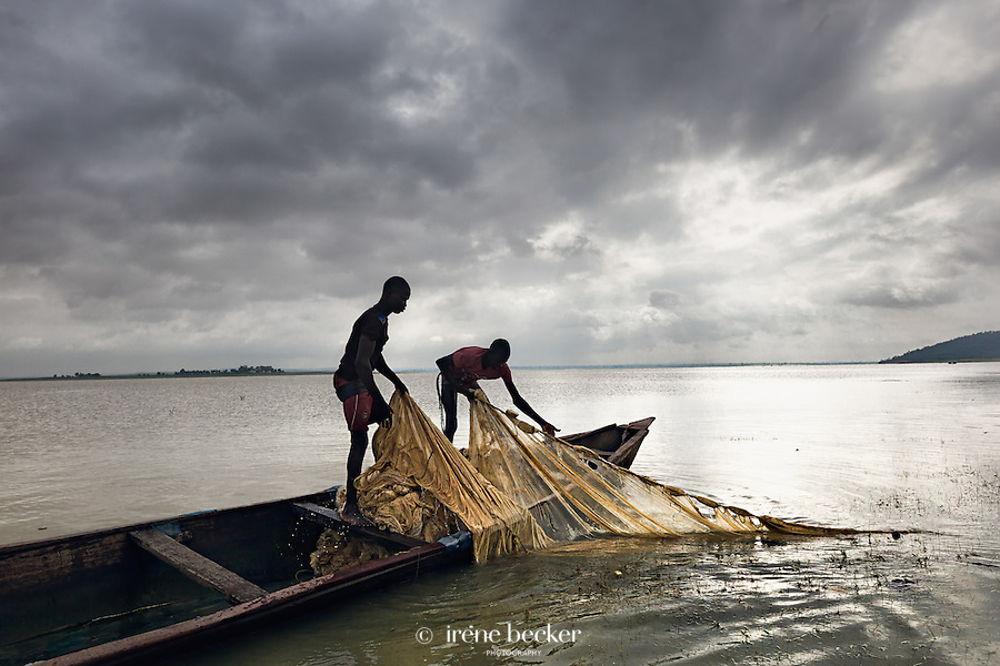 Fishing village close to New Bussa, Niger State, Nigeria.