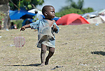 A boy in a camp for homeless families in Jacmel, a town on Haiti's southern coast that was ravaged by the January 12 earthquake..
