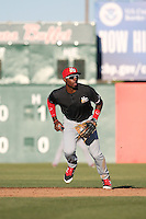 Travis Demeritte (2) of the High Desert Mavericks in the field during a game against the Lancaster JetHawks at The Hanger on April 16, 2016 in Lancaster, California. Lancaster defeated High Desert, 3-2. (Larry Goren/Four Seam Images)