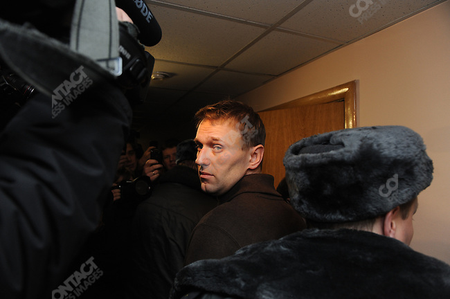 Russian blogger and activist Alexander Navalny was escorted into court in central Moscow and later sentenced to 15 days in jail for his part in a demonstration yesterday in Moscow, Russia, December 6, 2011