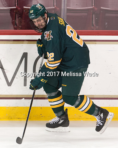 Brady Shaw (UVM - 22) - The visiting University of Vermont Catamounts tied the Boston College Eagles 2-2 on Saturday, February 18, 2017, Boston College's senior night at Kelley Rink in Conte Forum in Chestnut Hill, Massachusetts.Vermont and BC tied 2-2 on Saturday, February 18, 2017, Boston College's senior night at Kelley Rink in Conte Forum in Chestnut Hill, Massachusetts.