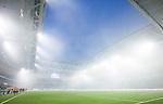 Stockholm 2014-04-16 Fotboll Allsvenskan Djurg&aring;rdens IF - AIK :  <br /> Vy &ouml;ver r&ouml;kfylld Tele2 Arena med &ouml;ppet tak under den andra halvleken efter att supportrar till Djurg&aring;rden och AIK eldat med bengaliska eldar inf&ouml;r den andra halvleken<br /> (Foto: Kenta J&ouml;nsson) Nyckelord:  Djurg&aring;rden DIF Tele2 Arena AIK r&ouml;k bengaler bengaliska eldar supporter fans publik supporters