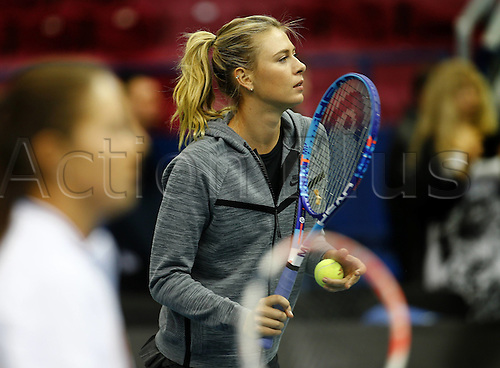 Fed cup 2016 RUS-NED. Sharapova held a master class for young tennis players.<br /> <br /> <br /> <br /> Fed Cup 2016 RUS NED Sharapova Hero A Master Class for Young Tennis Players