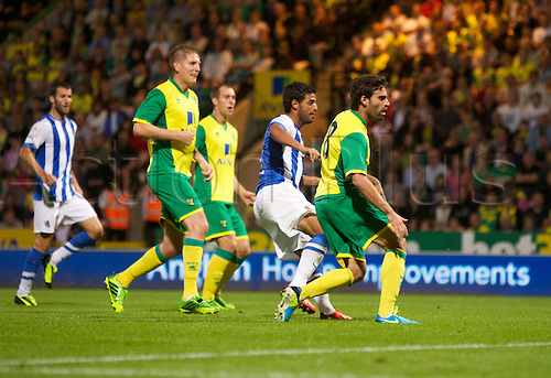 06.08.13 Norwich, England.  Carlos Vella scores the equaliser during the Pre Season Friendly between Norwich and Real Sociedad from Carrow Road.