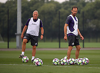 Pictured L-R: Alan Curtis and Gabriele Ambrosetti Thursday 18 August 2016<br /> Re: Swansea City FC training at Fairwood, Wales, UK