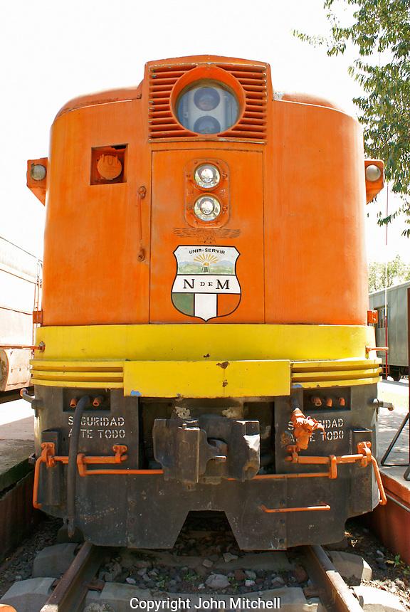 Diesel locomotive at the Museo Nacional de los Ferrocarriles Mexicanos or National Railway Museum in the city of Puebla, Mexico