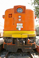 Diesel locomotive at the Museo Nacional de los Ferrocarriles Mexicanos or National Railway Museum in the city of Puebla, Mexico