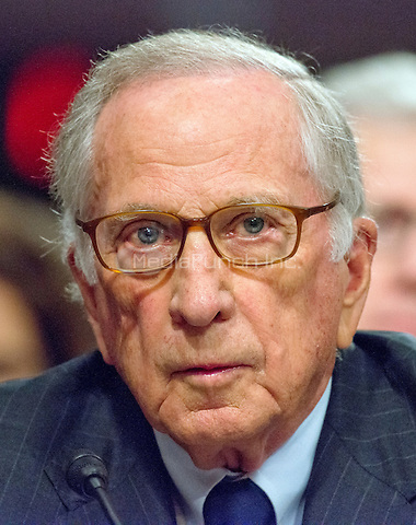 Former United States Senator Sam Nunn (Democrat of Georgia) appears before the United States Senate Committee on Armed Services as it holds a confirmation hearing on the nomination of US Marine Corps General James N. Mattis (retired) to be Secretary of Defense on Capitol Hill in Washington, DC on Thursday, January 12, 2017.  Nunn introduced and endorsed Mattis for the post.<br /> Credit: Ron Sachs / CNP /MediaPunch