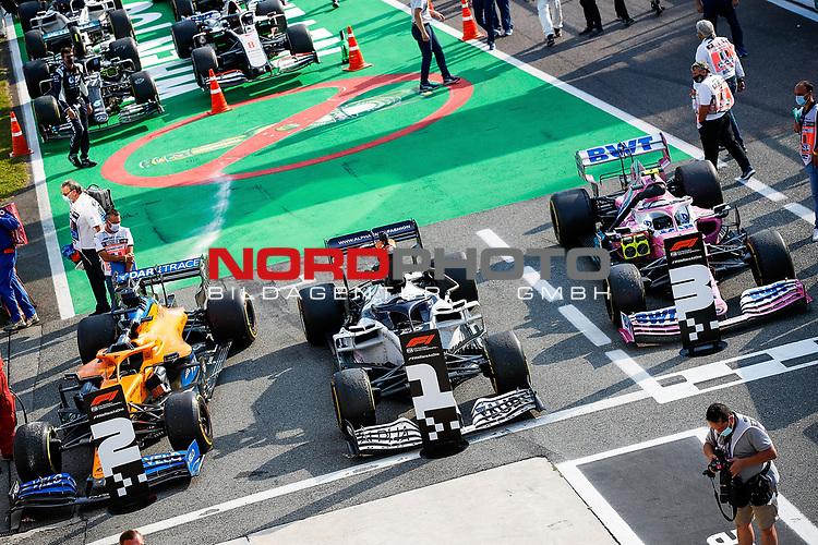 06.09.2020, Autodromo Nazionale di Monza, Monza, FORMULA 1 GRAN PREMIO HEINEKEN D'ITALIA 2020<br />,im Bild<br />Sieger Pierre Gasly (FRA#10), Scuderia AlphaTauri Honda, 2.Platz für Carlos Sainz Jr. (SPA#55), McLaren F1 Team, 3.Platz für Lance Stroll (CAN#18), BWT Racing Point F1 Team<br /> <br /> Foto © nordphoto / Bratic