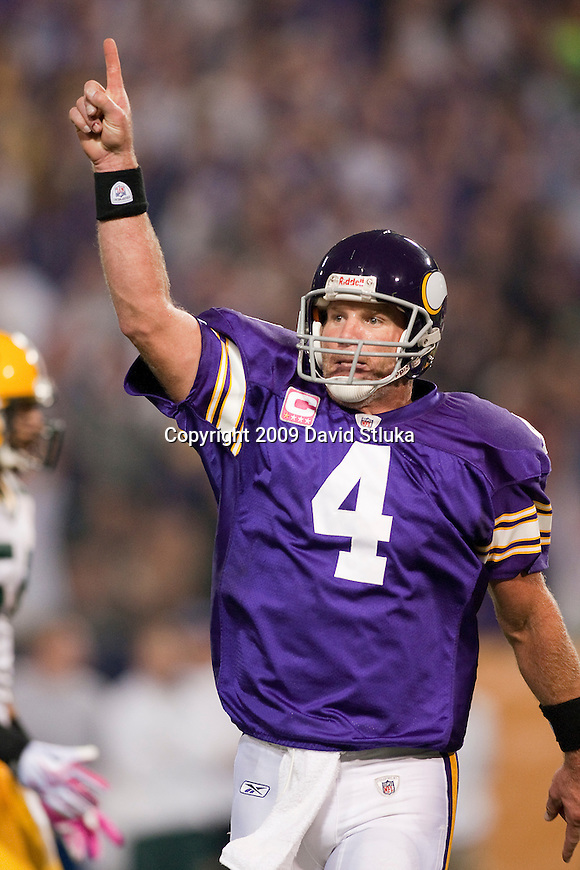 Minnesota Vikings quarterback Brett Favre (4) celebrates a touchown during an NFL football game against the Green Bay Packers at the Hubert H. Humphrey Metrodome on October 5, 2009 in Minneapolis, Minnesota. The Vikings won 30-23. (AP Photo/David Stluka)