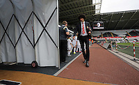 Pictured: Marouane Fellaini of Manchester United arrives Sunday 30 August 2015<br /> Re: Premier League, Swansea v Manchester United at the Liberty Stadium, Swansea, UK