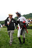 USA, Tennessee, Nashville, Iroquois Steeplechase, winning jockey Brian Crowley after the seventh race