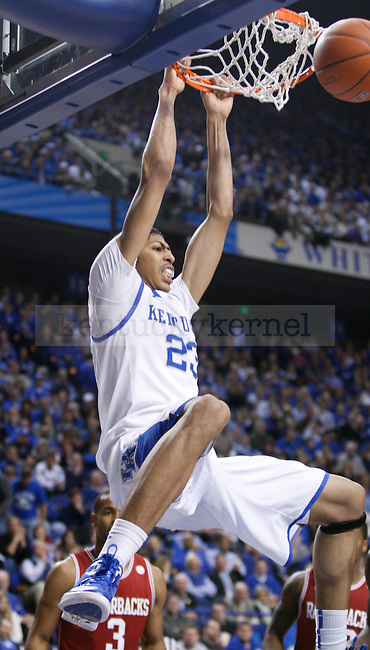 UK's Anthony Davis dunks the ball against Arkansas at Rupp Arena on Tuesday, Jan. 17, 2012. Photo by Scott Hannigan | Staff