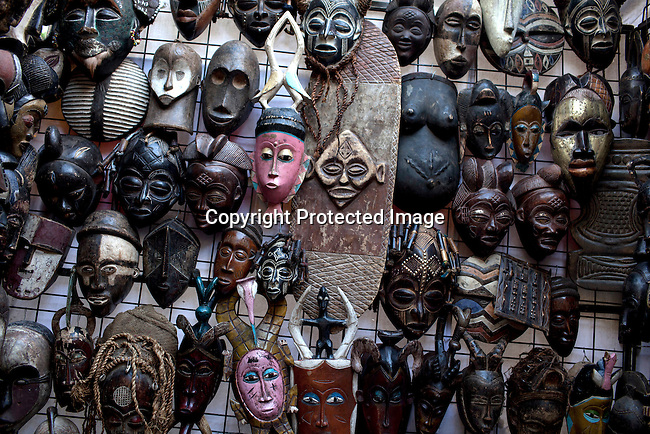 CAPE TOWN, SOUTH AFRICA - MARCH 21: African masks at Greenmarket Square market area on March 21, 2012 in Cape Town, South Africa (Photo by Per-Anders Pettersson For Le Monde)