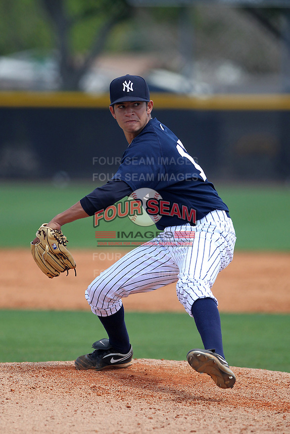 New York Yankees pitcher Leonel Vinas delivers a pitch during a showcase featuring the Dominican Prospect League at the New York Yankees Minor League Complex on March 14, 2012 in Tampa, Florida.  (Mike Janes/Four Seam Images)
