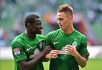 FUSSBALL   1. BUNDESLIGA   SAISON 2012/2013   2. Spieltag SV Werder Bremen - Hamburger SV                     01.09.2012         Joseph Akpala (li) und Marko Arnautovic (re, beide SV Werder Bremen) freuen sich nach dem Abpfiff